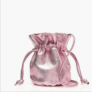 NWT J Crew Bucket Crossbody Bag Metallic Rose gold